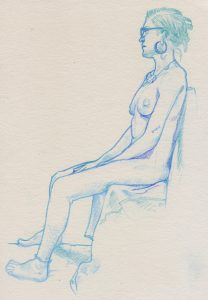 Drawing, young woman seated