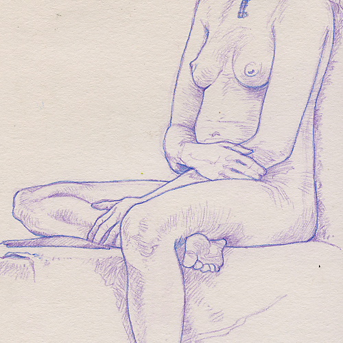 Drawing of the torso of a nude young, seated woman