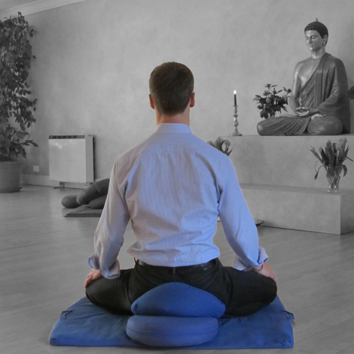A man, back to camera, seated in meditation facing a statue of the Buddha