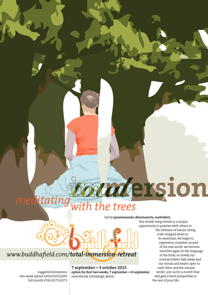 Poster design, featuring a surreal illustration of a woman, back to canvas, meditating amongst a copse of trees.