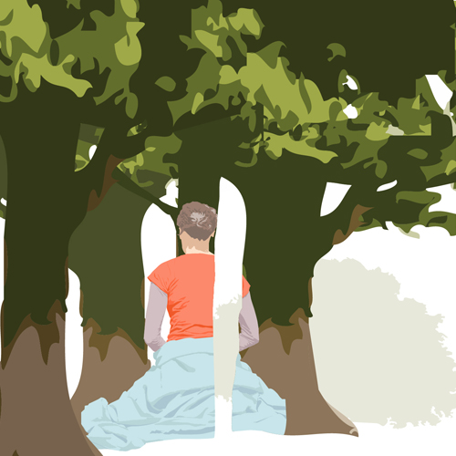 Surreal illustration of a woman, back to canvas, meditating amongst a copse of trees.