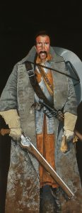 Character design of a man wearing a muddy Great Coat, light plate armour, carrying a flint-lock carbine