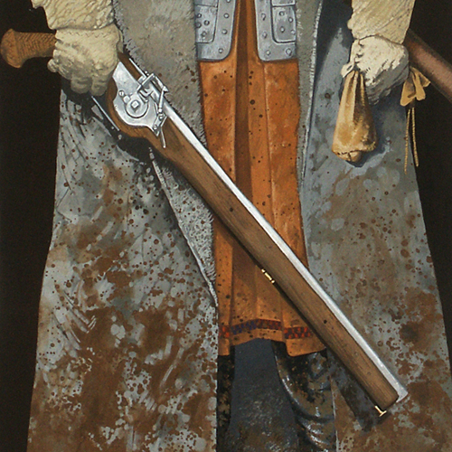 Painting of someone wearing a mud spattered great coat and holding a flint lock carbine,