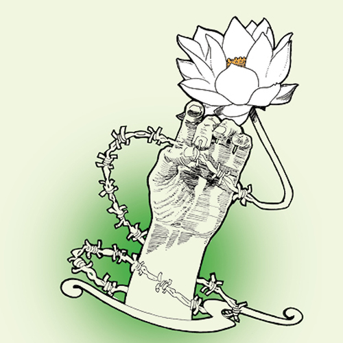 Hand drawn illustration of a hand holding a length of barbed wire that transforms into a lotus
