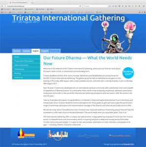Screen capture of the Triratna International Gathering website's homepage