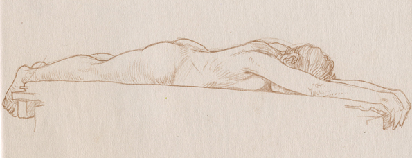 Young woman lying face down