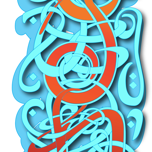 Street art style characters lifetd from Celtic knotwork and Arabic script