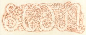 Steet art inspired charcaters s, t, d, and n in pencil.