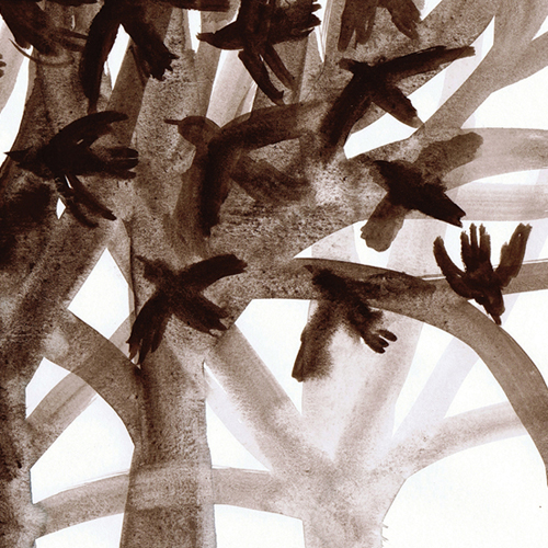 Watercolour illustration, birds flying from trees