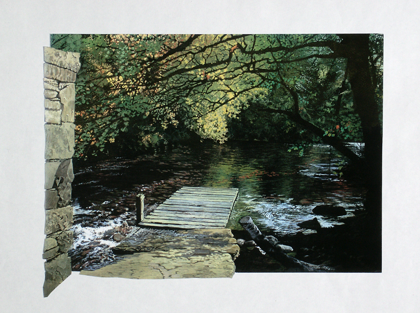 Painting of a jetty on a shallow river, with lush tree canopy