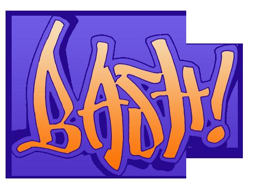 "Graffiti style lettering, ""bash!"""